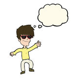 Cartoon waving cool guy with thought bubble Royalty Free Stock Photos