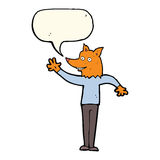 cartoon waving fox man with speech bubble Royalty Free Stock Photos