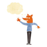 cartoon waving fox man with thought bubble Royalty Free Stock Image