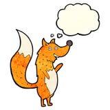 Cartoon waving fox with thought bubble Royalty Free Stock Photo