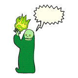 Cartoon waving halloween ghoul with speech bubble Stock Photography