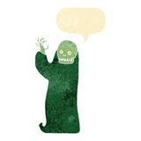 Cartoon waving halloween ghoul with speech bubble Royalty Free Stock Images