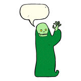 Cartoon waving halloween ghoul with speech bubble Royalty Free Stock Photography