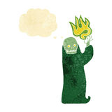 Cartoon waving halloween ghoul with thought bubble Royalty Free Stock Images