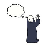 Cartoon waving halloween ghoul with thought bubble Royalty Free Stock Photos