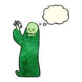 Cartoon waving halloween ghoul with thought bubble Stock Photo