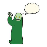 Cartoon waving halloween ghoul with thought bubble Royalty Free Stock Photo