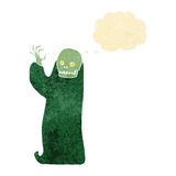 Cartoon waving halloween ghoul with thought bubble Stock Photos