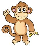 Cartoon waving monkey with banana Stock Images