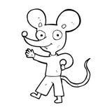 cartoon waving mouse Stock Image