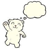 cartoon waving polar bear with thought bubble Stock Photos