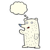 cartoon waving polar bear with thought bubble Stock Photography