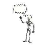 cartoon waving skeleton with speech bubble Royalty Free Stock Image