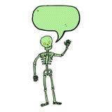 Cartoon waving skeleton with speech bubble Stock Photography