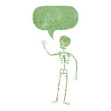 Cartoon waving skeleton with speech bubble Royalty Free Stock Images