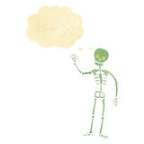 Cartoon waving skeleton with thought bubble Stock Photography