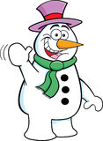 Cartoon Waving Snowman Royalty Free Stock Photos