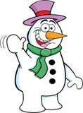 Cartoon Waving Snowman. Cartoon illustration of a snowman waving stock illustration