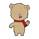 cartoon waving teddy bear with scarf Royalty Free Stock Images