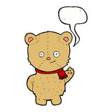 Cartoon waving teddy bear with speech bubble Royalty Free Stock Images