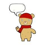 Cartoon waving teddy bear with speech bubble Stock Photo