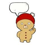 Cartoon waving teddy bear in winter hat with speech bubble Stock Photo