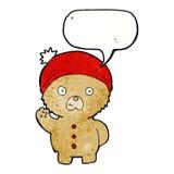 Cartoon waving teddy bear in winter hat with speech bubble Stock Photos