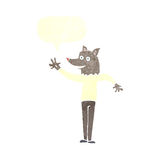 Cartoon waving wolf man with speech bubble Royalty Free Stock Photos
