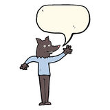 Cartoon waving wolf man with speech bubble Royalty Free Stock Images