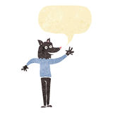 Cartoon waving wolf man with speech bubble Stock Images