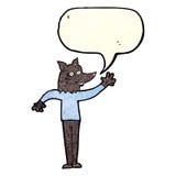 Cartoon waving wolf man with speech bubble Stock Photos