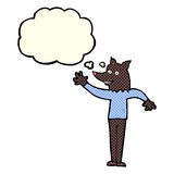 Cartoon waving wolf man with thought bubble Stock Image