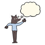 Cartoon waving wolf man with thought bubble Royalty Free Stock Photos