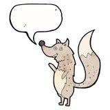 Cartoon waving wolf with speech bubble Stock Image