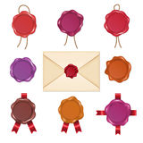 Cartoon wax seals in vintage style. Vector illustrations set isolate on white Stock Images