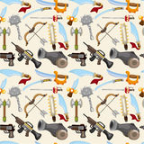 Cartoon weapon set seamless pattern Stock Photo