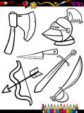 Cartoon weapons objects coloring page. Coloring Book or Page Cartoon Illustration of Black and White Old Weapons Objects Set for Children Education Royalty Free Stock Photos