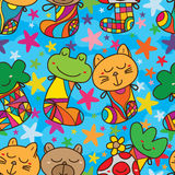 Cartoon wear stocking jump sky seamless pattern Royalty Free Stock Image