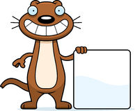 Cartoon Weasel Sign Stock Images
