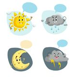 Cartoon weather characters set. Friendly sun, rain cloud with raindrops, crescent moon and thunderstorm cloud with lightning. Spee. Ch bubbles. Vector climate Royalty Free Stock Photography