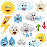 Cartoon Weather Collection. Collection of twelve funny cartoon weather characters (sun, clouds, star, lightning, snowflake, water drops, fog, arrows) isolated on Stock Photography