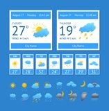 Cartoon Weather Color Element Set. Vector. Cartoon Weather Color Element Set Interface Phone or Computer Meteorology Forecast Concept for Web Design Flat Style Royalty Free Stock Image