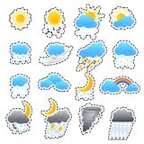 Cartoon Weather Color Icons Sticker Set. Vector. Cartoon Weather Color Icons Sticker Set Meteorology Forecast Concept for Web Design Flat Style. Vector Stock Photography
