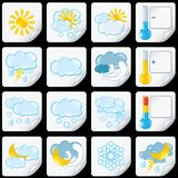Cartoon Weather Forecast Icons. Paper Stickers Royalty Free Stock Images