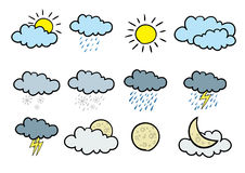 Cartoon weather icons. Set of 12 cartoonish  weather icons Stock Photos