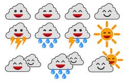Cartoon weather icons. Happy clouds. royalty free illustration