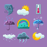 Cartoon Weather Icons Set. Cartoon Weather Set Of Flat Vector Cartoon Style Isolated Cute Girly Drawings On Light Blue Background Stock Photos