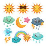 Cartoon weather icons set. Funny pictures isolate on white background. Illustration of weather sunny and cloud, thunder and rainbow vector Stock Photography