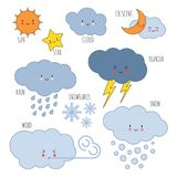 Cartoon weather kids vocabulary vector icons. Weather drawing sun and cloud, rain and storm, cloudy and thunder illustration Stock Photography