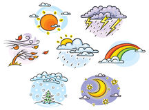 Cartoon weather set Royalty Free Stock Photos